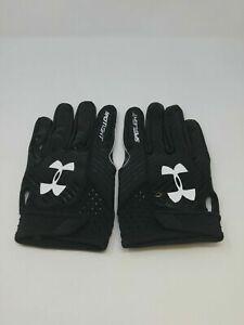 New Under Armour Men's Black/Black/White Spotlight WR Football Gloves