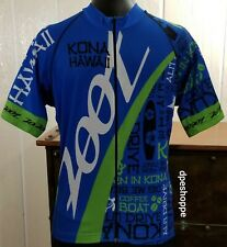 Zoot Kona Hawaii Cycling Jersey Hula Girl Blue Full Zip Silicone Gripper Hem MD