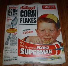 Nouvelle annonce Superman Kellogg's Cereal Box Corn Flakes Flying Superman Premium 1940 Original