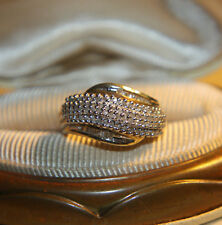 Ross Simons 18k yellow gold/Sterling Silver pave diamond cluster style Ring