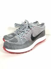 Nike Men's Flyknit Racer G Golf Shoes Wolf Grey Solar Red Size 8 909756-002