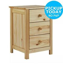 New Scandinavia Solid Pine Wood 3 Drawer Bedside Chest - Pine