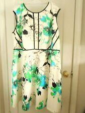 Sandra Darren Dress PLUS Size 24 Sleeveless Stretchy White Black Blue & Green