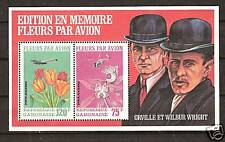 GABON # C111a Wilbur & Orville Wright Airplane over Flowers
