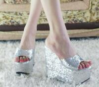 Women's Sequins Open Toe Platform Wedge high Heel Slippers Casual Sandals Shoes