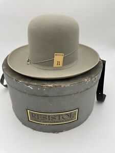 Vintage Resistol Governors Special Grey Bowler 3X Beaver Hat NWT In Box. 7 1/8