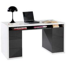 Scrivania ufficio laccato tre cassetti e anta bianco e grigio SR7045 L140h75p60