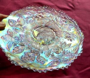 Vintage FENTON Peacock Plate Iridescent Carnival Glass Plate