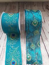 63mm Wide Stunning PEACOCK Design ribbon - satin or woven linen Glitter teal