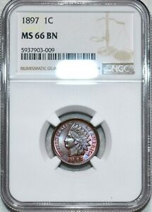 NGC MS-66 BN 1897 Indian Head Cent, Beautiful, Radiant, Finest BN Known!
