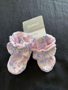 Zutano NWT Pink/Blue Organic Cotton Booties- 6 Months