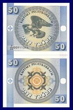 Kyrgyzstan P3, 50 Tyiyn, imperial eagle, 1993, Chui Province, UNC $3 CV