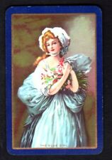 Vintage Swap/Playing Card - The Blue Girl (LINEN)