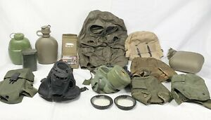 Lot Of Vintage WW2 Gear Gas Masks Hats Water Canister