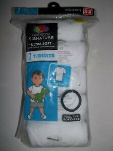 Brand New Toddler Boys 7-Pack T-Shirts - White, Sizes 2T-3T, 4T-5T