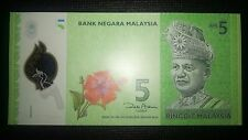 Malaysia Five Ringgit RM 5 RM5 2011 Polymer Banknote P 52 New Design UNC