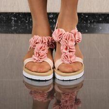 Flache Mujer Sandalias de Tiras Con Flores Rosa #38849