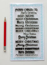 """Clear Stamps Lot (4""""x7"""" Merry Christmas Vintage Greeting Saying FLONZ 807 Rubber"""