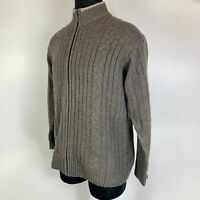 Columbia XCO Brown Full Zip Wool Blend Cable Knit Ribbed Cardigan Sweater Mens L