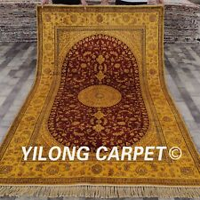 YILONG 5'x8' Persian Handmade Silk Carpet Gold Washed Antique Bedroom Rug G52C