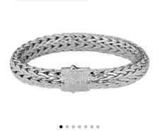 john hardy woven chain braclet with diamond pave clasp
