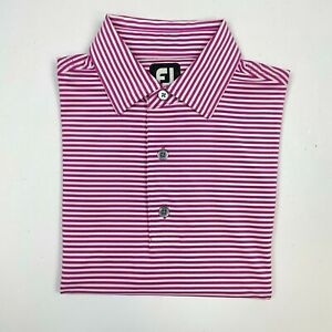 Footjoy Mens Short Sleeve Polo Shirt Size Small Purple Striped Spandex FJ