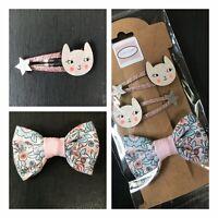 🌸 Ensemble de 3 barrettes fille motif chats rose et noeud liberty idée cadeau