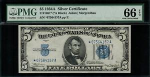 1934A $5 Silver Certificate FR-1651* - Star Note - Graded PMG 66 EPQ