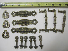 antique brass hardware     set of  3   solid brass   handles