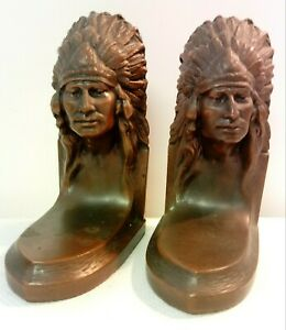 Antique Jennings Brothers JB Bronze Indian Bust Art Statue Sculpture Bookends