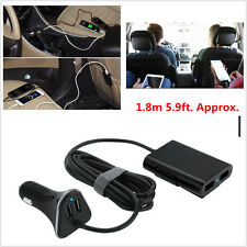 1.8m 5.9ft 4-Port Car USB Charger Front / Back Seat Adaptor 9.6A For Electronic