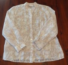 Alfred Dunner Sz 12 Long Sleeve Button Front Blouse Top Light Summer Shirt