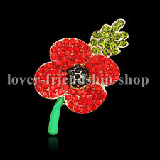 Gift Brooch Red Crystal Leaves Red Poppy Flower Badge Gold Brooch Gifts Party