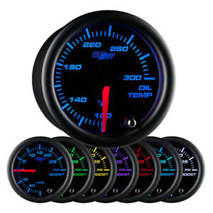 GlowShift 52mm Black 7 Color Oil Temperature Gauge 100 to 300 Fahrenheit