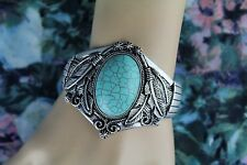 Turquoise Cuff Bracelet with Burnished Silver Ornate Tribal Bohemian Victorian