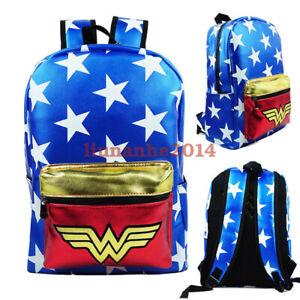 DC Comics Wonder Woman Backpack Satchel Schoolbag Casual Zipper Laptop Bag Gift