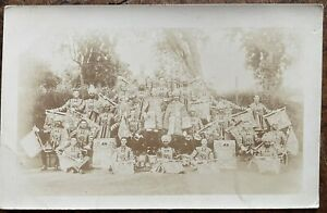 ANTIQUE RPPC PORTRAIT OF BRITISH AND INDIAN SIKH HOUSEHOLD CAVALRY TRUMPETERS