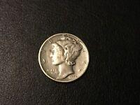 1944 P Mercury Dime, 90% Silver WW2 silver coin lot World War Two