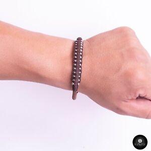 Kavak Handmade Men's Bracelet Leather Magnetic Stainless Steel Military Braided