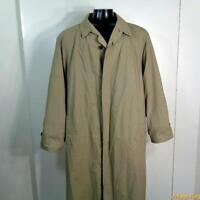 KENNETH BARNARD Long RAINCOAT Rain Trench Coat Mens L 42 Beige w/ liner