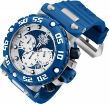 New Mens Invicta 25039 Subaqua Nitro Chronograph Blue Rubber Strap Watch