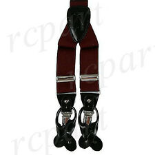 New in box Men's Suspender braces Burgundy elastic clips buttons casual