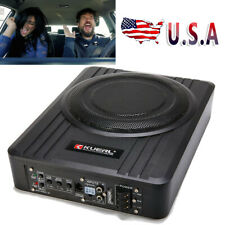 10' 600W Under-Seat Car Subwoofer Powered Bass Amplifier Slim Enclosure Sub