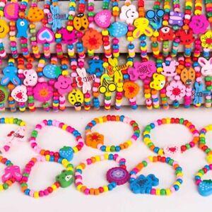 100pcs Wholesale Handmade Kids Children Wood Cartoon Animal Bead Bracelets Toy
