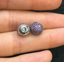 Genuine PANDORA Open Bangle Purple Pavé End Caps 14k Gold Plated 796481CFP