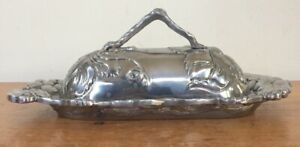Vintage Arthur Court 2001 Pewter Floral Grapes Fancy Oval Covered Butter Dish