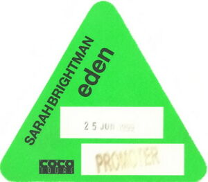 SARAH BRIGHTMAN 1999 ONE NIGHT IN EDEN TOUR BACKSTAGE PROMOTER PASS / EX 2 NMT