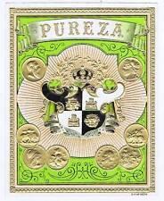 Pureza, original outer cigar box label, emobossed coins