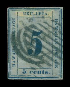 HAWAII 1865  Numerals  5c blue, bluish  Scott # 21  9-A  Type VI  pos.6  used