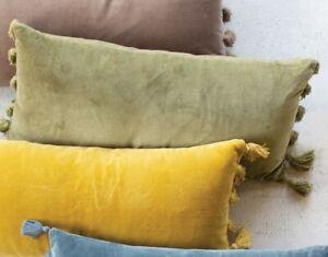 Avocado Green Soft Velvet Lumbar Throw Pillow Long Tassel Fringe Sofa Cushion